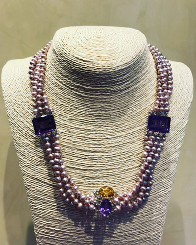 Necklace with Pink Pearls and Amethyst