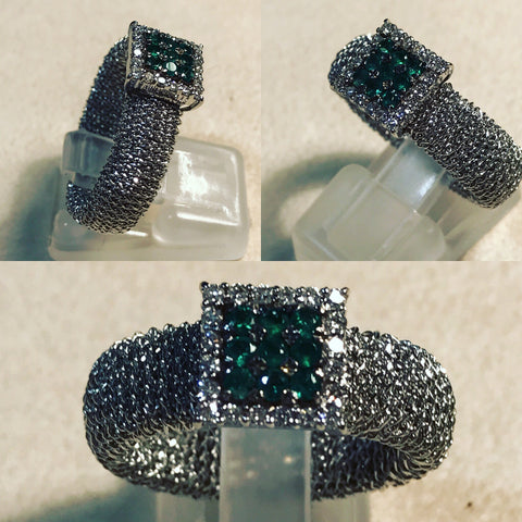 Ring with Pave' of Emeralds