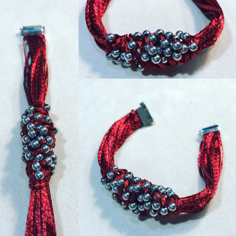 "Bracelet in Red Silver 925 "" Oro Filato """