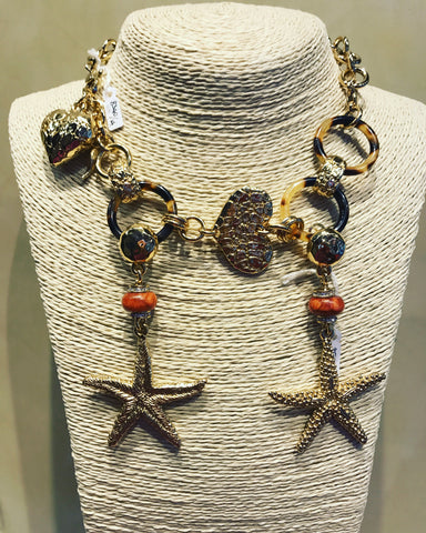 "Necklace in Gold Plaited Silver 925 "" Sea Stars """