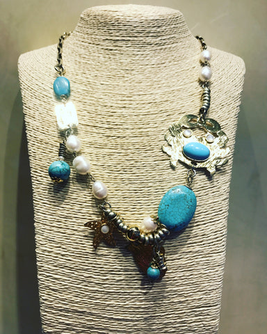 "Necklace in Gold Plaited Silver 925 : "" Crab with Turquoise """