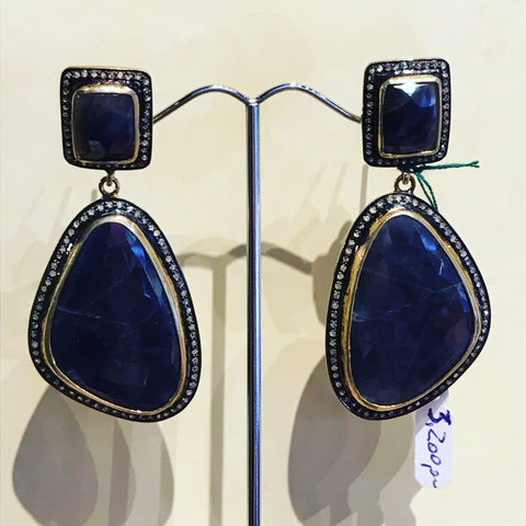 Pendant Earrings with Flat Blue Sapphires and Black Diamonds