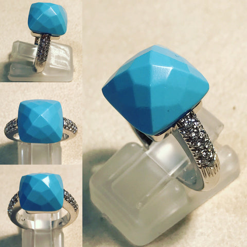 Ring with Diamonds and Turquoise on Top