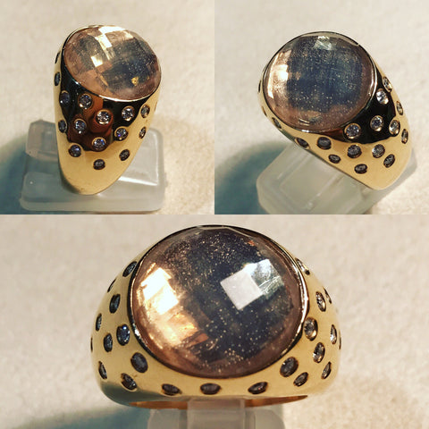 Ring with Natural Quartz and Diamonds