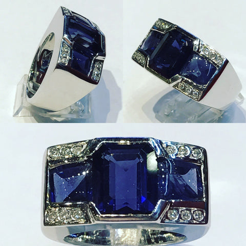 Ring with Blue Sapphires and Diamonds