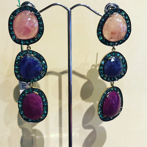 Pendant Earrings with Quartz and Multi Colour Sapphires