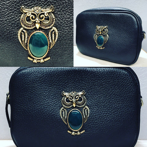 "Clutch with "" Owl in Green Quartz """