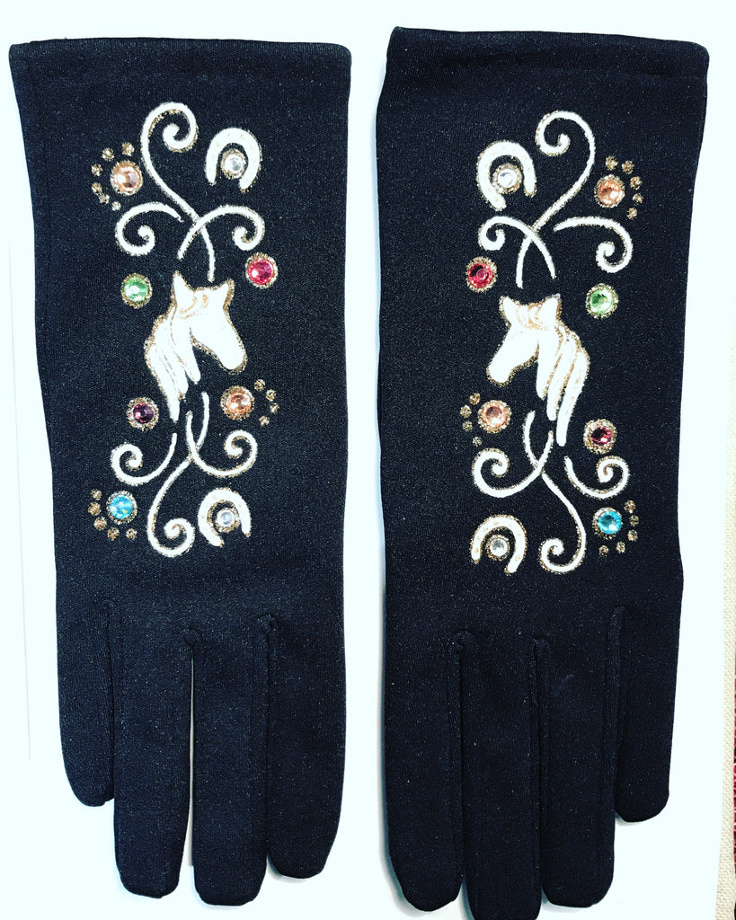 "Gloves French Style : "" White Horses """