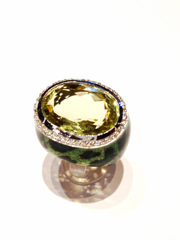 Multi Green Leopard Ring