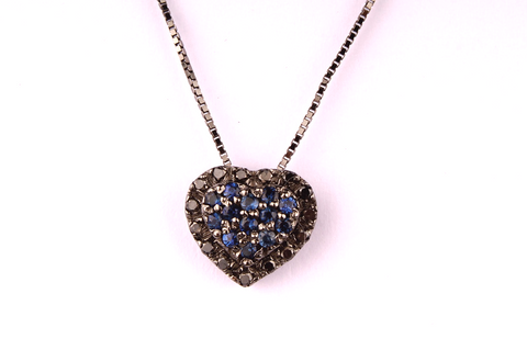 """ Heart "" with Pavè of Sapphires and Black Diamonds"
