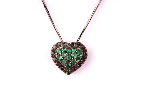 """ Heart "" with Pavè of Emeralds and Black diamonds"