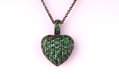 """ Green Heart "" in Black Gold and Emeralds"