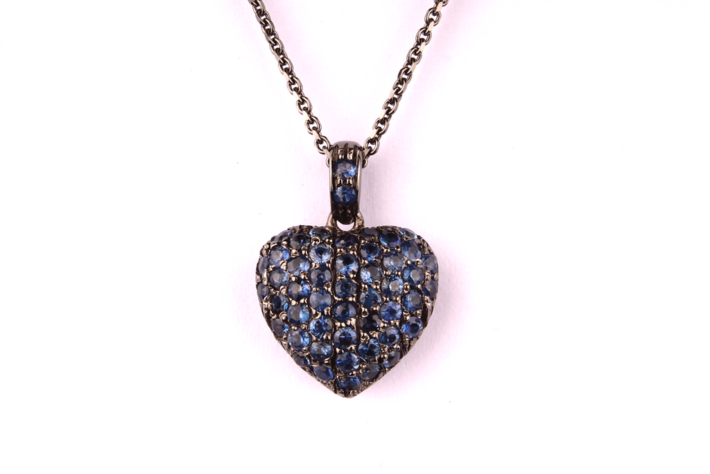 """ Blue  Heart "" in Black Gold and Sapphires"