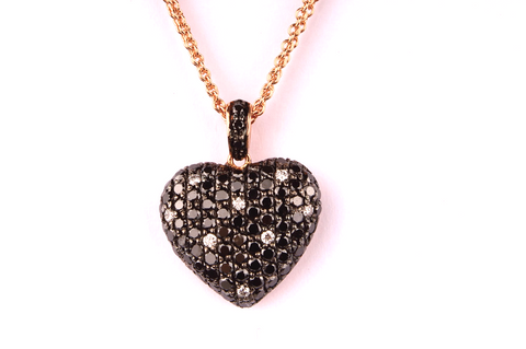 """ Heart "" in Black and White Diamonds"