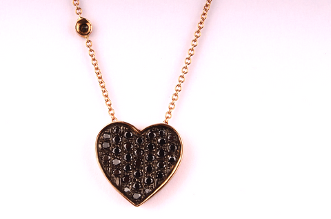 """ Heart "" in rose Gold and Pavè of Black Diamonds"