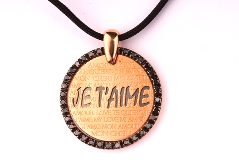 """ Je t' aime "" Pendant in Rose Gold 18 kt. and Black Diamonds"