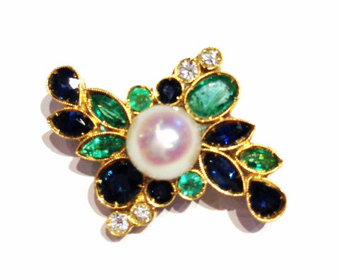 Central Pearl with Emeralds and Sapphires