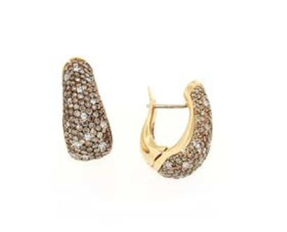 """ Brown and White Pave' Earrings """