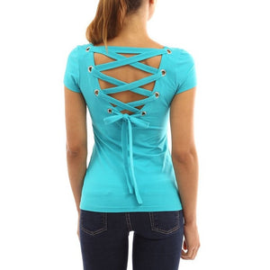 T Shirt Women Punk Tee Shirt Femme Woman Tops Sexy Backless Hollow Bandage 2017 Fashion Short Sleeve Femme Camisetas Feminina