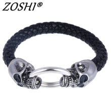 Load image into Gallery viewer, Hot Silver Stainless Steel Skull Bracelets Weave leather bracelet & Bangle Punk jewelry Wholesale Bracelets For Man Woman