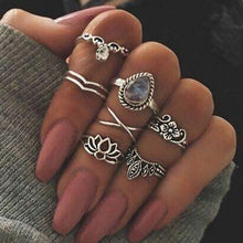 Load image into Gallery viewer, 3-14 pcs /set Fashion Leaf flower triangle geometric Stone Midi Ring Sets Vintage Crystal Knuckle Rings For Women Punk rings