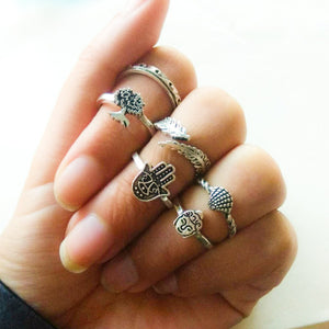 3-14 pcs /set Fashion Leaf flower triangle geometric Stone Midi Ring Sets Vintage Crystal Knuckle Rings For Women Punk rings