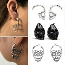 Load image into Gallery viewer, New Design Silver Black Color Skull Stud Earrings For Women Men Punk Rock Style Skeleton Ear Jewelry Gift