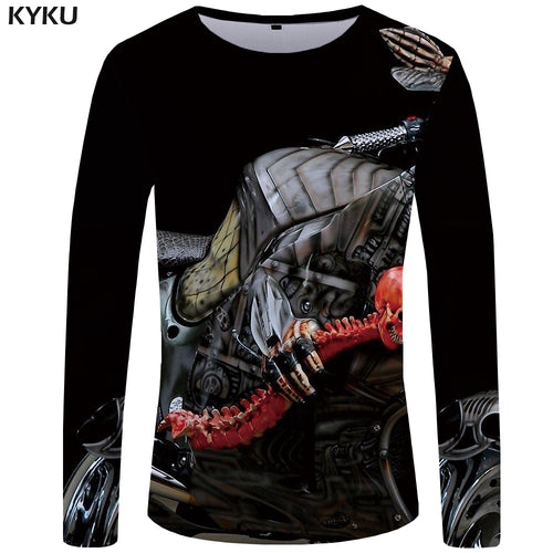 KYKU Skeleton Long Sleeve T Shirt Women Skull Motorcycle Print T-shirt 3d Anime Clothes Punk Rock Casual Womens Clothing Summer