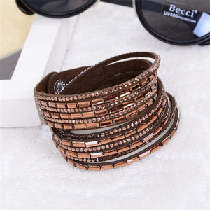 Women Punk Rock Multi-Layer Leather Rivet Stud Bracelet Bangle Female Wrap Cuff Bracelet Free Shipping