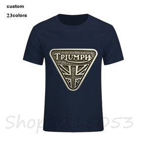 2018 new fashion Classic TRIUMPH MOTORCYCLE T Shirt Men 100% Cotton Short Sleeve Good Quality male T-shirt Top Tee tshirt Summer