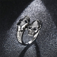 Load image into Gallery viewer, Stainless Steel Ring  Punk Gold / Silver Skull Rings For Women Men Adjustable Ring