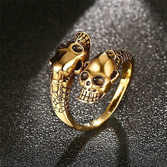 Stainless Steel Ring  Punk Gold / Silver Skull Rings For Women Men Adjustable Ring