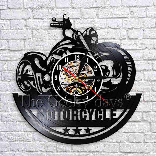 Motorcycle Wall Clock Vintage Wall Decor For Garage Motorbike Shop Black Hanging Vinyl Clock 3D Wall Watches Unique Gifts