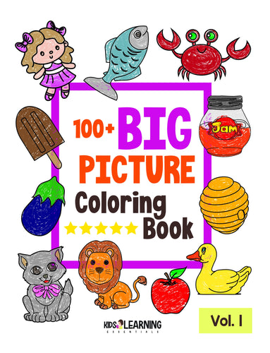 100+ Big Picture Coloring Book Volume 1 Digital