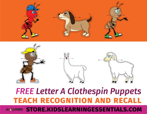 Free Letter A Clothespin Puppets