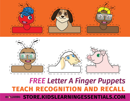 Free Letter A Finger Puppets