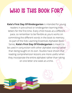 Kala's First Day Of Kindergarten Story + Workbook