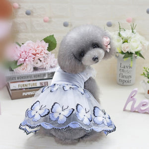 Butterfly Embroidered Dog Dress