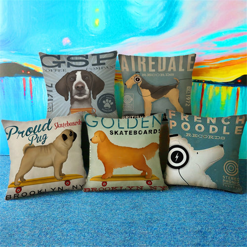 Dog Animal Modern Europe Plain Decorative  Throw Pillow Case