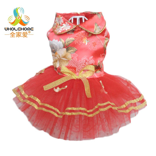 Lace Dress Pet Products Red Beadings