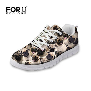 Pug Woman Tennis Shoe