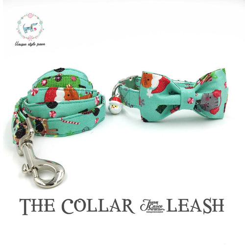 The Green  Merry Christmas Dog collar and Leash Set with Bow Tie Cotton