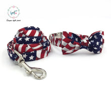Load image into Gallery viewer, The Stars and Stripes Collar with Bowtie or The Set with Match Leash