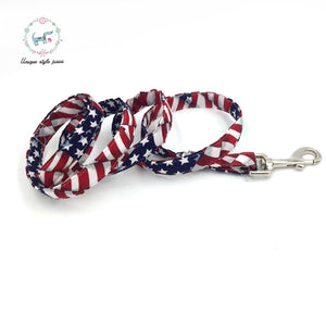The Stars and Stripes Collar with Bowtie or The Set with Match Leash