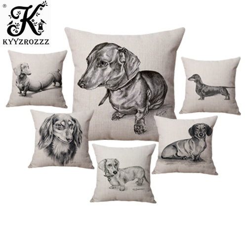 Sketch Dachshund Dog Pillow  Cover