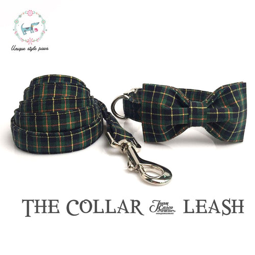 Green Plaid Dog Collar and Leash Set with Bow Tie