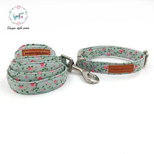 Pretty Rose Collar and Leash Set Bowtie Available Seperately Metal Buckle