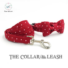 Load image into Gallery viewer, Unique Style Paws Red Dot Collar with Bowtie and Leash