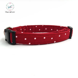 Unique Style Paws Red Dot Collar with Bowtie and Leash