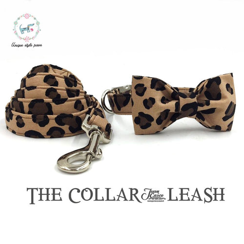 Leopard Print Collar and Lead Set with Bow Tie Cotton